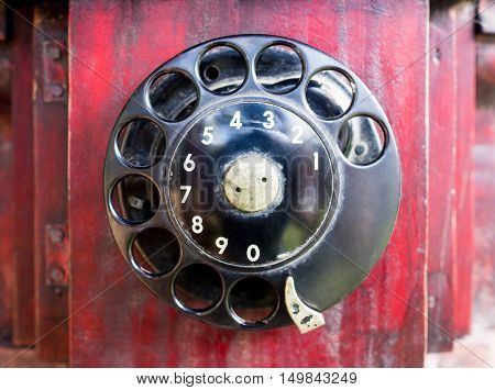 Classic Vintage wooden phone metal dial pad