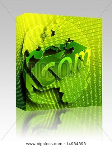 Software package box dotCom background, on Europe map internet illustration