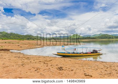 Boat at the Kaeng Krachan Dam in Kaeng Krachan National Park Thailand