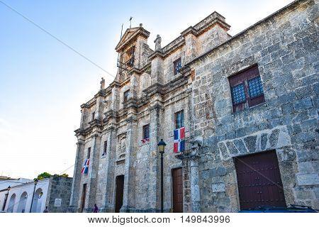 SANTO DOMINGO, DOMINICAN REPUBLIC - JANUARY 29: National Pantheon in Las Damas street. Taken in January 29, 2016 in Santo Domingo, Dominican Republic.