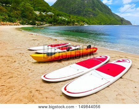 The colorful kayaks on the tropical beach in Saint Lucia, Caribbean Islands