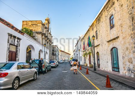 SANTO DOMINGO, DOMINICAN REPUBLIC - JANUARY 29: View of Las Damas street near the National Pantheon, Colonial Zone. Taken in January 29. 2016 in Santo Domingo, Dominican Republic.