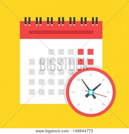 Vector calendar and clock icon. Schedule, appointment, important date concept. Modern flat design illustration isolated on yellow background