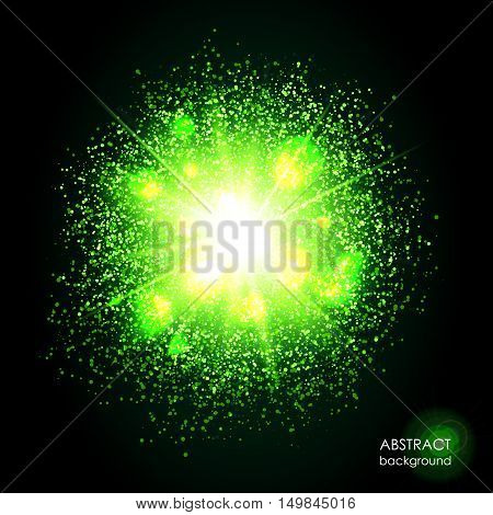 Explosion of supernova. Bright green cosmic or magic background. Glowing space. Bundle of energy. Cloud of dust and light on black background. Round abstract composition. Vector illustration EPS 10