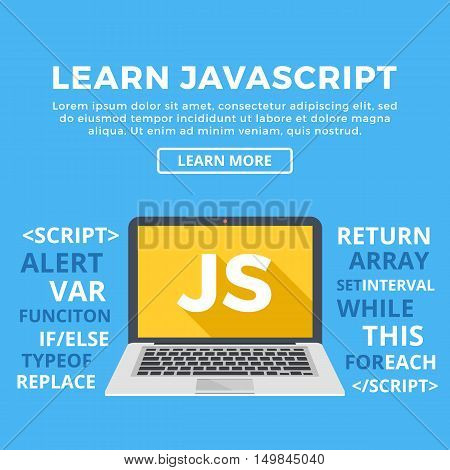 Laptop with JS word on screen. Learn Javascript, web development, programming, coding concept. Modern graphic for web banners, website, printed materials, infographics. Flat design vector illustration