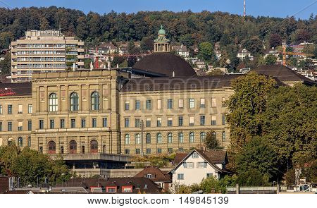Zurich, Switzerland - 25 September, 2016: building of the Swiss Federal Institute of Technology in Zurich. Swiss Federal Institute of Technology in Zurich (German:  ETH) is a cience, technology, engineering and mathematics university in Zurich.