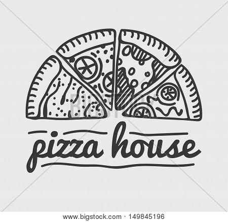 Pizza Label Design Typographic. Pizza festival or pizzafest. Vintage food pizza logo template for restaurant. Vector Illustration.