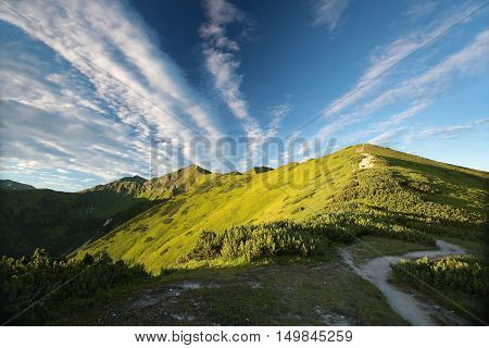 Peaks in the Tatras at dawn. Carpathians, Poland