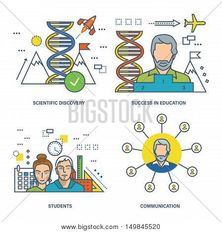 The basic concept of set - discoveries and achievements in science and education, training, and students, as well as communication. Vector illustration can be used in banners, brochures, projects.