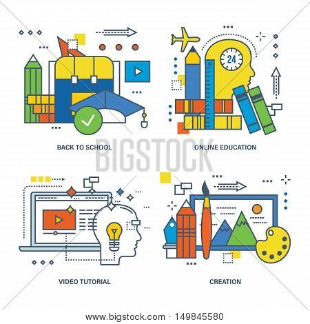 Concept of back to school, online education, video tutorial, creation. Color Line icons collection.