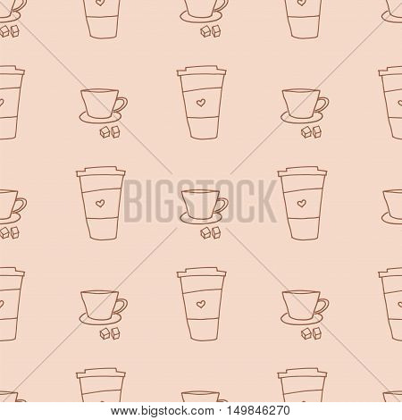 Coffee cup and mug seamless pattern. Vector illustration with hand drawn elements. Decorative background for for cafe or coffeehouse menu.