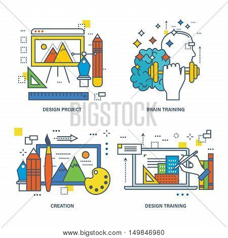 The kit contains illustrations on the theme of modern education, training of design and design, as well as training and development of the brain. Vector illustration.