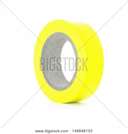 Electrical sticky yellow insulation tape reel, isolated on white background