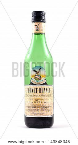 NEW YORK NY - OCTOBER 1st 2016: Green glass bottle of Fernet Branca - isolated