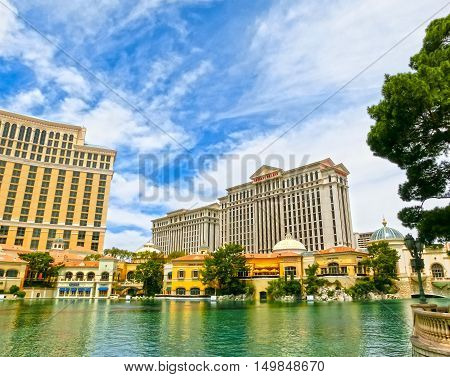 Las Vegas, United States of America - May 05, 2016: Caesars palace hotel on May 29, 2015 in Las Vegas, Nevada, USA. Caesars palace is a luxurious hotel famous with its fountains and shops