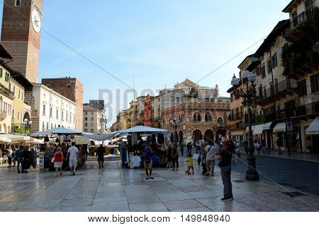 Verona Italy - September 3 2016: Piazza Delle Erbe square in Verona Italy. Unidentified people visible.