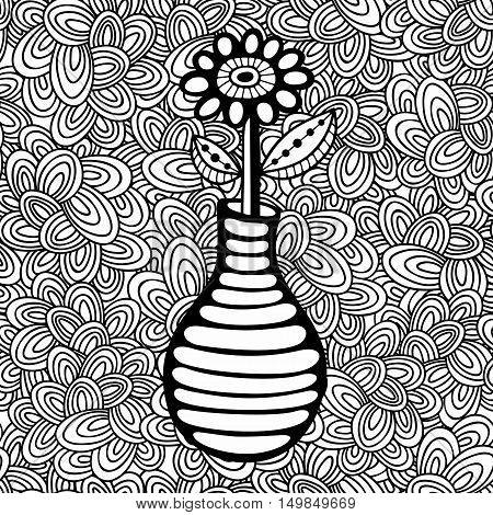 Doodle pattern with black and white flower image for coloring. Vector illustration.