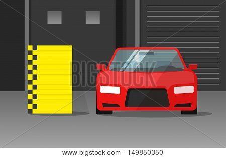 Car crash test vector illustration, auto safety test