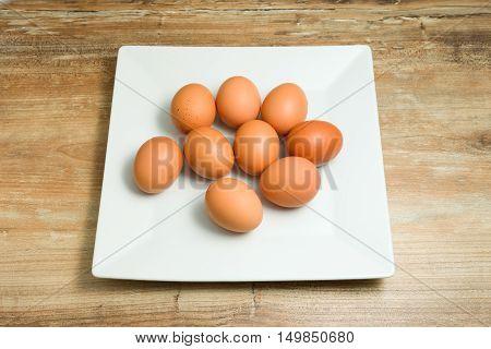 fresh, organic, chicken eggs on the plate
