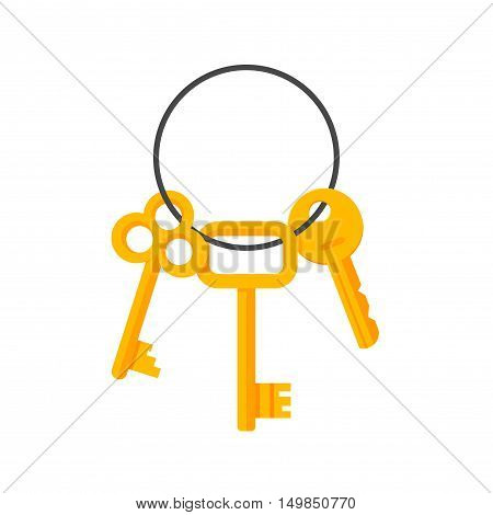 Keys hanging on key ring illustration isolated on white background, bunch of golden door and lock keys chain flat cartoon style image