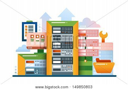 Servers - vector modern flat design illustration with communications equipment and tools