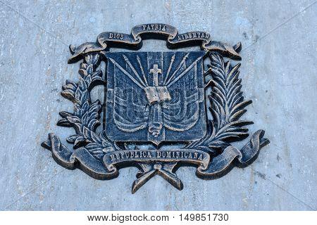 SANTO DOMINGO, DOMINICAN REPUBLIC - JANUARY 29, 2016: Bronze plaque in Spanish Square, Colonial City of Santo Domingo declared a World Heritage UNESCO.