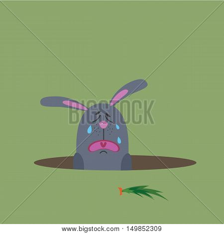 hungry bunny, vector illustration for web design and printing.
