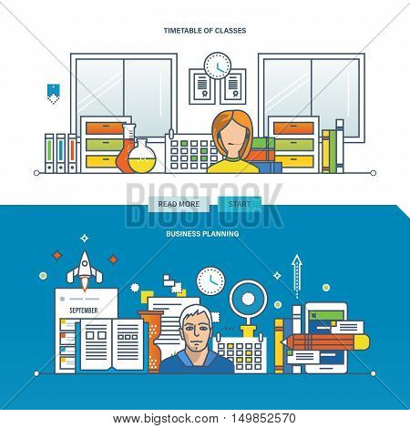 Concept of a business plan, timetable and schedule of work. Color Line icons collection. Vector design for website, banner, printed materials and mobile app.