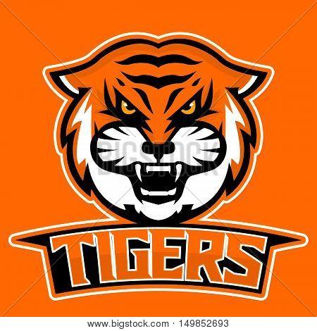 Modern professional logo for sport team. Tiger mascot. Tigers, vector symbol on a dark background