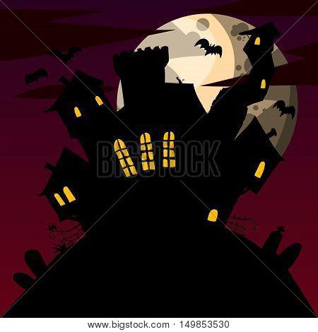 Cartoon illustration of a spooky cartoon mansion. Halloween scary castle.