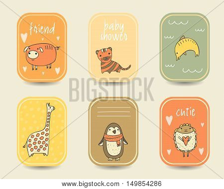 Cute hand drawn doodle baby shower cards brochures invitations with pig tiger dolphin giraffe sheep penguin. Cartoon animals background. Printable templates tags set