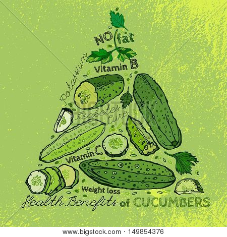 Beautiful handdrawn pattern in bright green colours. Vector illustration with cucumbers and cucumber slices in unique artistic style on a textured background. Natural and organic food concept.