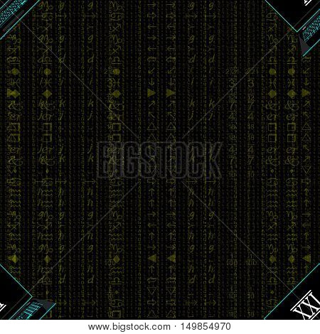 Seamless pattern, a realistic laptop against the background of a flow of digits of gold color.