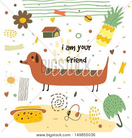 Cute hand drawn postcard with long dog pineapple flower umbrella hot dog earphones dog house bone polka dots. I am your friend background for children. Baby shower cover in cartoon style