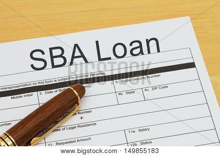 Applying for a SBA Loan SBA Loan application form with a pen on a desk