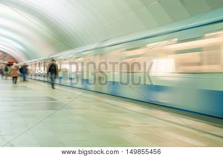 MOSCOW, RUSSIA - OCTOBER 01, 2016: The train is leaving at speed in the tunnel at the metro station Timiryazevskaya in Moscow