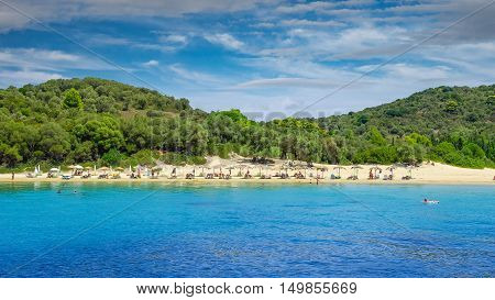 Koukounaries Beach, Skiathos Island, Greece. It is one of the best Greek beaches.