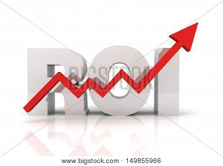 return on investment roi 3d illustration isolated on white background