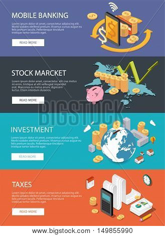 Flat isometric concept for finance stock market consulting investing crowdfunding taxes m-banking bookkeeping. Can be used for infographics, web design, diagram, banners, promotional materials.