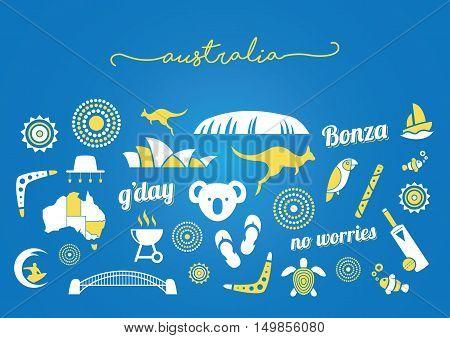 Yellow and white Australia icon set on a blue background