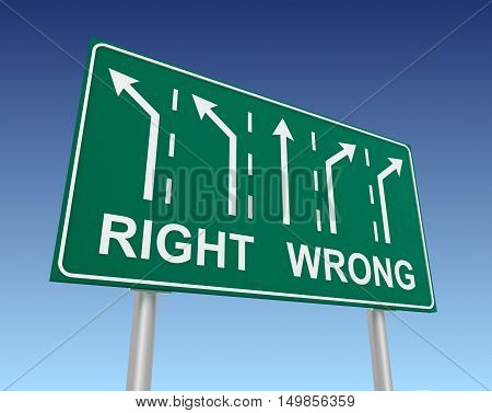 right wrong road sign 3d concept illustration on sky background