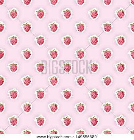 Seamless pattern background with raspberry fruit. Rapberry fruit seamless pattern. Seamless background for packaging design of raspberry fruit products or rapberry taste. Vector illustration