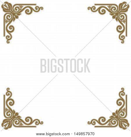 Golden frame, vintage frame, baroque frame, scroll frame ornament frame, engraving frame, border frame, floral retro frame, pattern antique frame, style acanthus frame, foliage swirl frame, decorative frame. Vector.