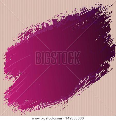 Red pink ink spot on the cardboard grunge cardboard texture background. Ink splash vector design abstract background template. Vector illustration stock vector.