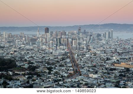Downtown San Francisco from Twin Peaks, Dusk. Aerial view of San Francisco's 2nd highest point of the city, The Twin Peaks.