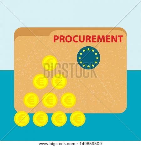 paper file folder with red title procurement and flag of european union and a pile of gold euro coins on the blue background - vector business picture - flat design