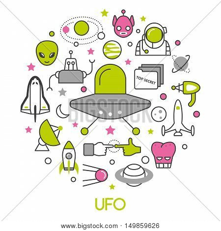 UFO and Space Thin Line Vector Icons Set with Aliens and Flying Saucer