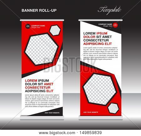 Red roll up banner template, stand template, stand design, banner design, display template, polygon background, pull up, advertisement