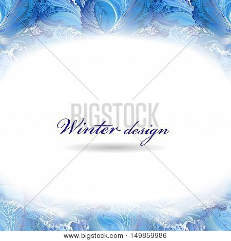 Frozen glass decor. Winter holiday blue frost background. Blue, cyan and white horizontal top design banner with snow hoar frost ice for winter holiday template. Vector illustration stock vector.