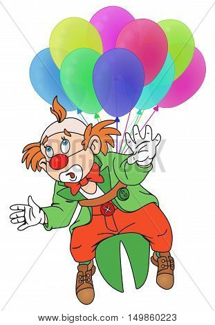 Illustration of Funny Circus Clown Flying on Balloons